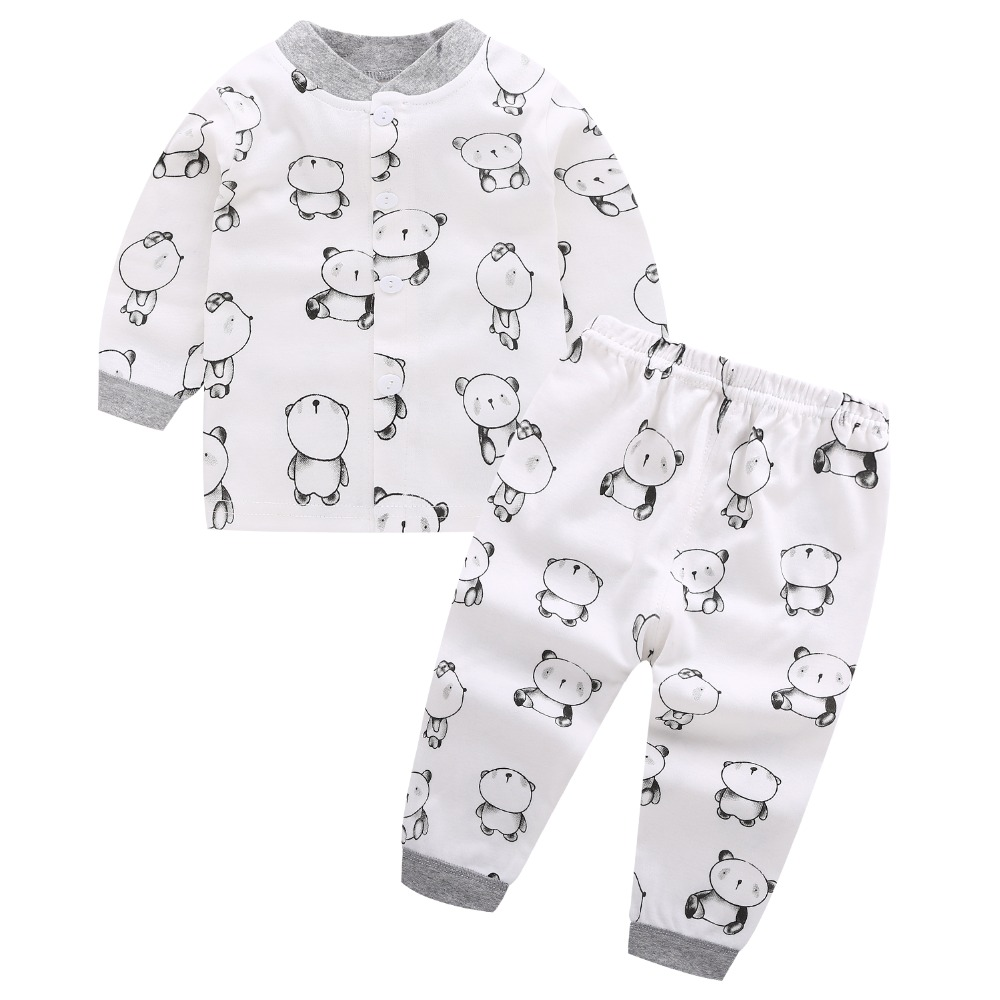 2pcs Fashion Baby Boy Pajama Set 100% Cotton Autumn Long Sleeve Clothing Sets Newborn Infant Cute Cartoon Bear Winter Sleepwear