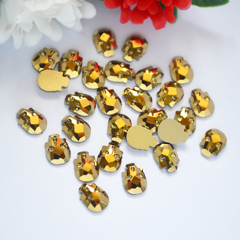 3D Nail Art Strass Crystal Rhinestones Mine Gold Non Hotfix Crystals 6*8mm 10pcs Skull head Stones DIY 3D Gem decoration