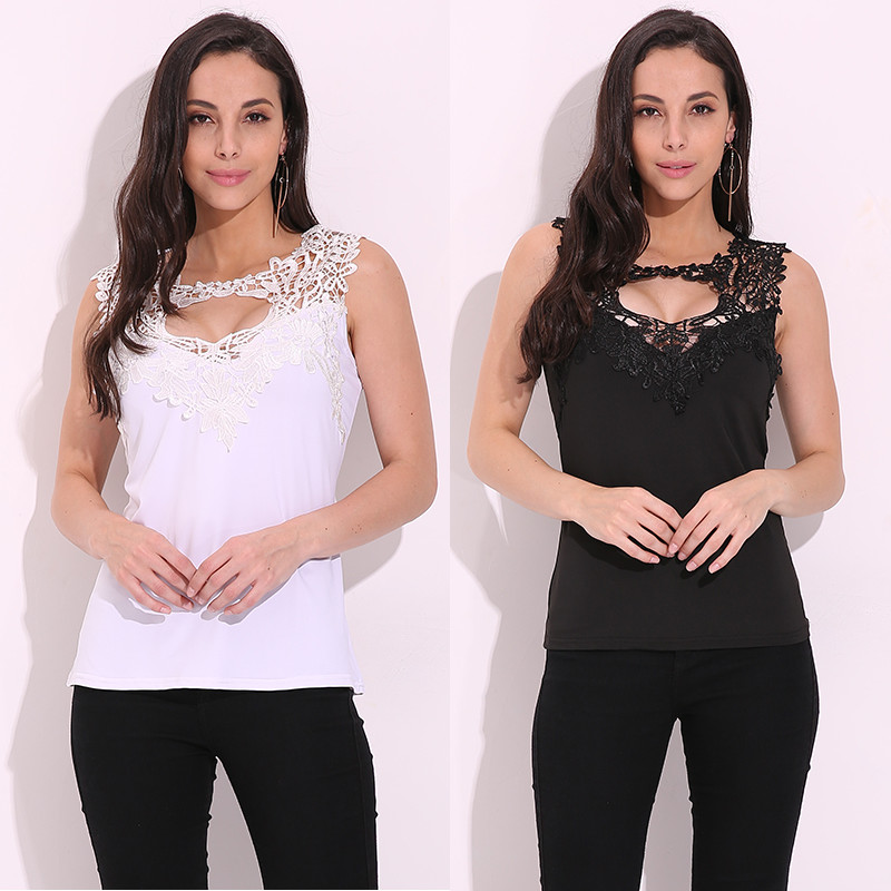 Celmia 2017 Sexy Women Lace Tank Top Lace Crochet Low Cut V Neck Slim Fit Vest Sleeveless T-shirt Mujer Blusas Cami Tee