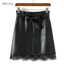 NATOODA Autumn 2017 Winter Women's Mini PU Leather Skirt Black Lace Patchwork Bodycon Pencil Skirts Zipper Lady Casual Skirt