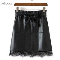 NATOODA Autumn 2017 Winter Women S Mini PU Leather Skirt Black Lace Patchwork Bodycon Pencil Skirts