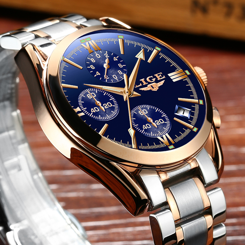 LIGE Brand Luxury Watch Fashion Quartz Sport Watches Men Full Steel Military Clock Waterproof Gold Watch men's Relogio Masculino lige brand men s fashion automatic mechanical watches men full steel waterproof sport watch black clock relogio masculino 2017