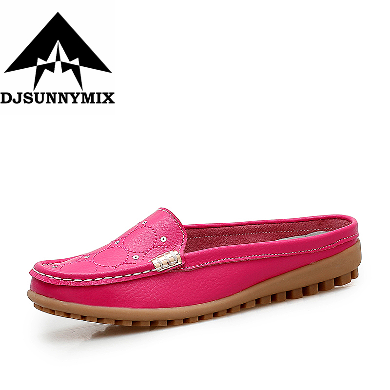 DJSUNNYMIX Brand NEW Women Flats Shoes genuine Leather women half-slide non-slip loafers Female Casual Ladies shoes new style comfortable casual shoes men genuine leather shoes non slip flats handmade oxfords soft loafers luxury brand moccasins