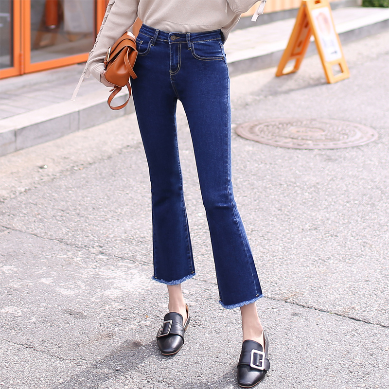 great prices select for newest search for best US $28.36 24% OFF|2019 Vintage High Waist Elastic Flare Jeans Women Retro  Bell Bottom Skinny Jeans Female Dark Blue Wide Leg Denim Pants E884-in  Jeans ...