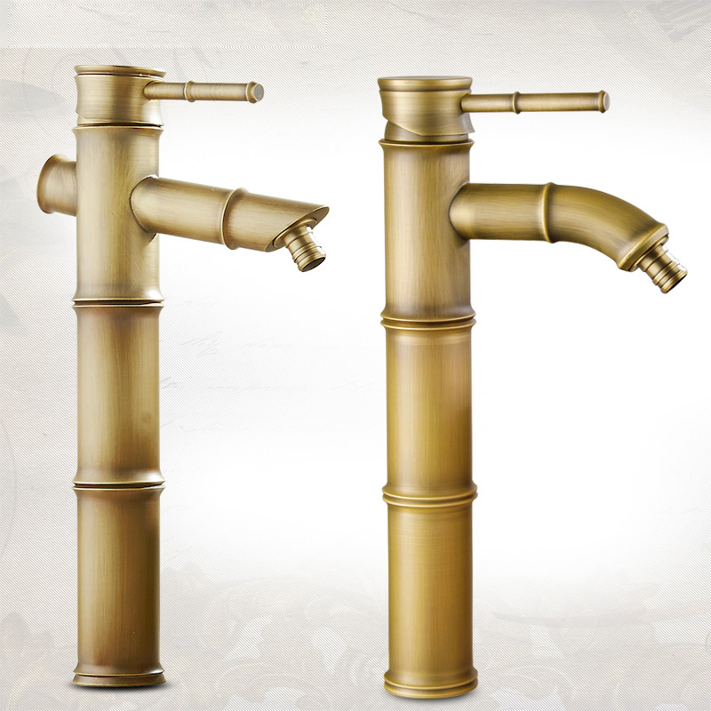 Antique bamboo knot faucet washer mouth Chinese style basin art basin tap cold and hot mixer water faucet connectable pipe