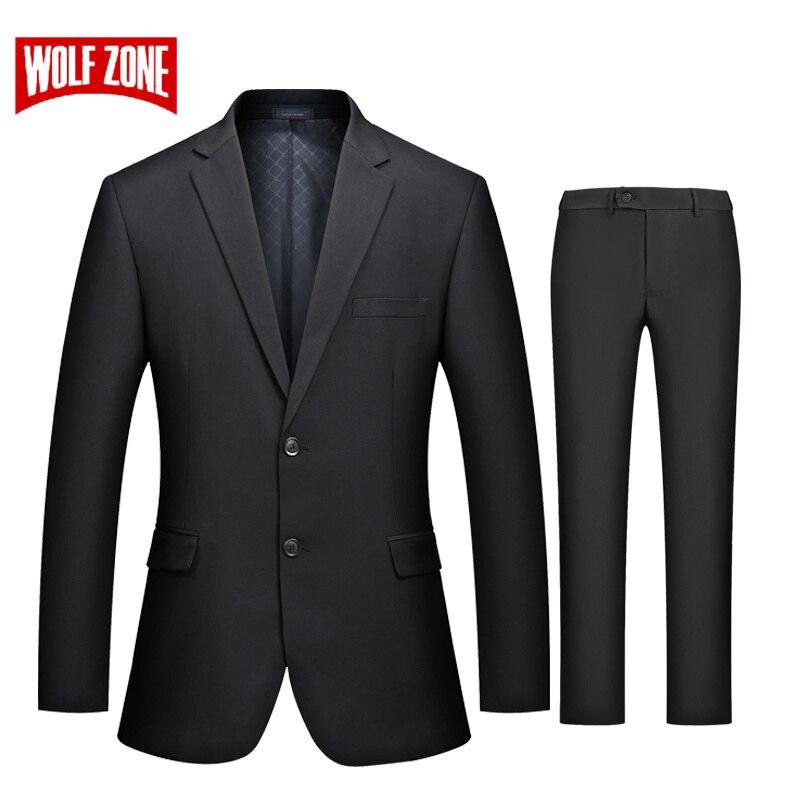 WOLF ZONE marque de luxe costume hommes décontracté Slim Fit costumes avec pantalon 2 pièces de mariage Blazer hommes formelle fête veste