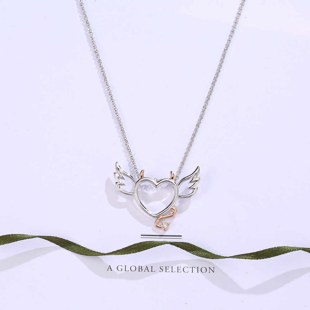 Śliczne serce ze skrzydłami i ogonami zawieszki różowe złoto kolorowy wisiorek naszyjniki dla dziewczyny kobiety miłość oświadczenie biżuteria mały diabeł