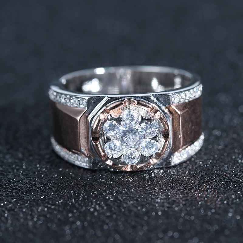Fashion Rose Gold Ring Men Wedding Band Vintage Mens