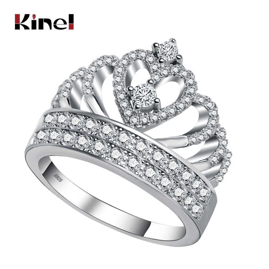 Kinel Hot Exquisite Crown Ring 925 Sterling Silver Wedding Bands Engagement Rings For Women Vintage Jewelry 2017 New