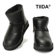 TIIDAกันน้ำรองเท้าหิมะสำหรับผู้หญิงรองเท้าข้อเท้าแฟชั่นหนังแกะแท้หนังรองเท้าฤดูหนาว100%ขนธรรมชาติผู้หญิงบู๊ทส์