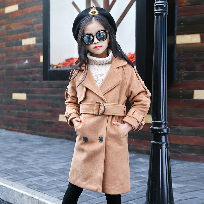 New 2017 Autumn Winter Large Kids Wool Blends Coat For Children Girls Long Wool Coat Kids Jackets Casual Baby Girls Clothing the new children s cubs hat qiu dong with cartoon animals knitting wool cap and pile