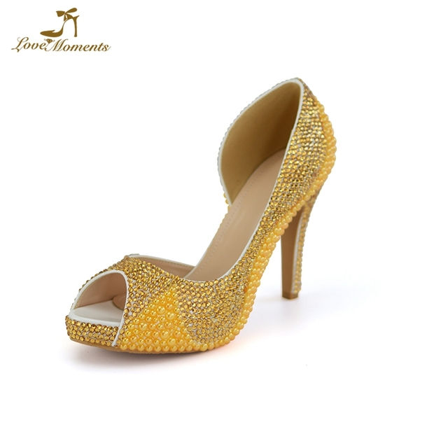d63d9430e5f0a 2018 Customized Gold Rhinestone Yellow Pearl Bridal Dress Shoes 4 Inches  High Heel Summer Peep Toe Wedding Party Shoes Size 43