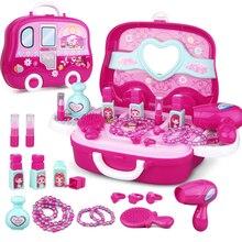 Новые детские ролевые игры Детские игрушки для макияжа Набор парикмахерских моделирования пластиковая игрушка для девочек туалетный косметический дорожный ящик