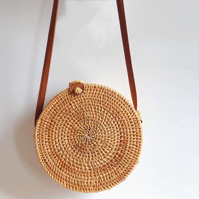 2018 Round Straw Bags Women Summer Rattan Bag Handmade Woven Beach Cross Body Bag Circle Bohemia Handbag Bali#31