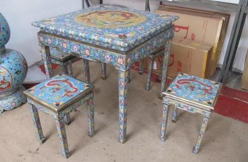BiG China 100%Bronze Cloisonne dragons phoenix Table 4 Stools Set