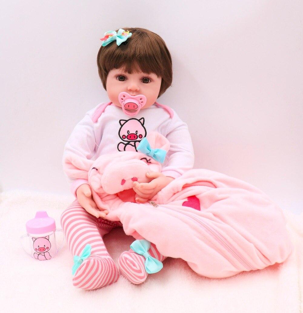 NPK plus mignon gros yeux 3/4 Silicone bébé fille Reborn poupée bébé princesse belle Bebe cadeau reborn Boneca vivant coucher partenaires jouet