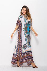 Image 2 - Dubai Maxi Kaftan kadın moda müslüman elbise baskı Vintage kadın plaj yaz Robe büyük boy Arabes çarşaf İslami giyim