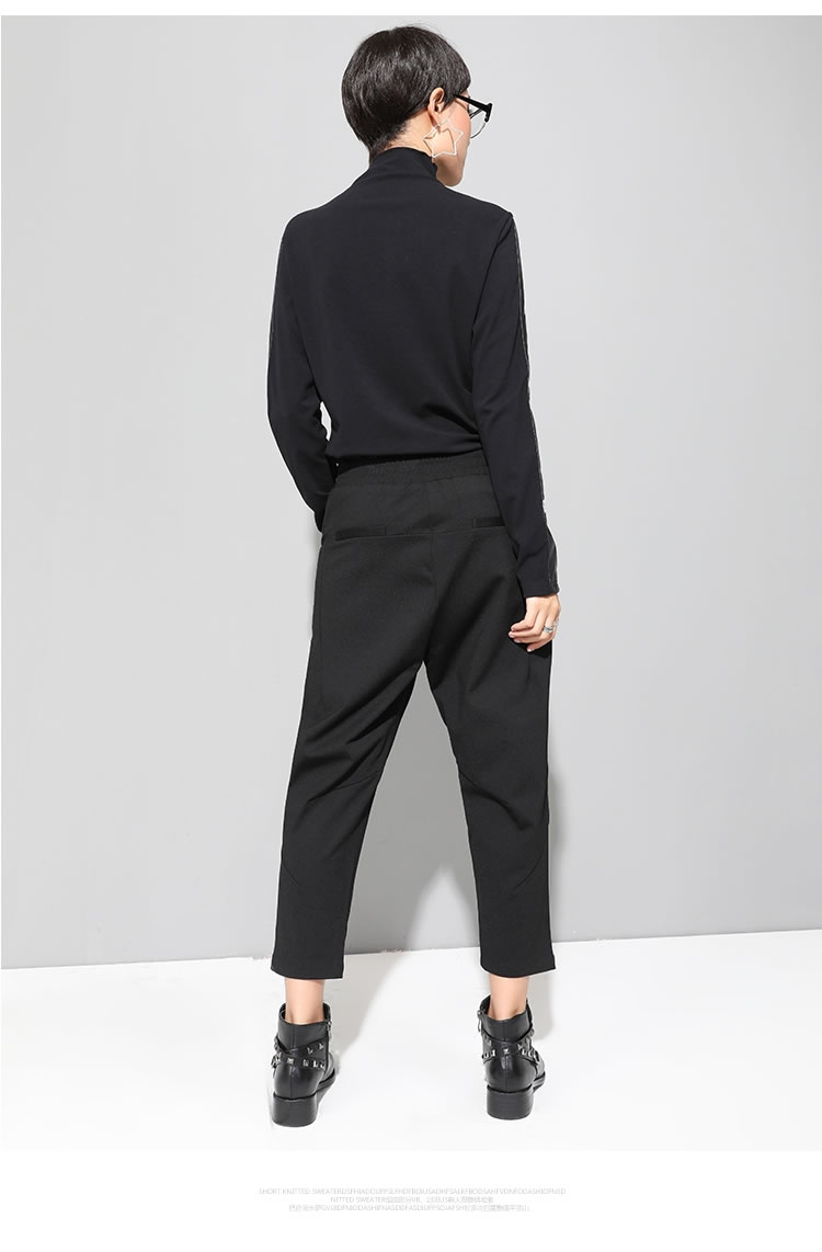 XITAO Black Tide Long Harem Pants Women Elastic Waist Button Fly Casual Modis Front Patchwork Female Trouser 2019 Autumn LJT3926 26
