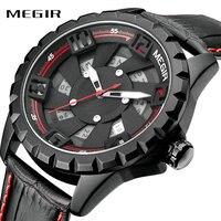 MEGIR Locomotive Style Cool Noir Hommes Quartz Montre Moulin À Vent Conception Véritable Bracelet En Cuir Nombre Arabe Affichage de la Date Sport Horloge