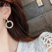 L&H Korean Fashion Rhinestone Round Geometric Drop Earrings For Women Jewelry Silver Gold Rose Color Handmade Statement Earrings пистолет для монтажной пены облегченный корпус sparta