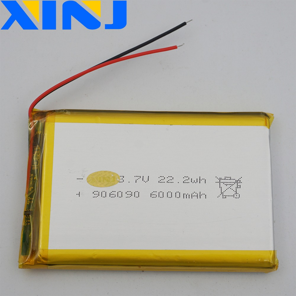 XINJ <font><b>3.7V</b></font> <font><b>6000mAh</b></font> Li lithium polymer <font><b>battery</b></font> <font><b>lipo</b></font> cell 906090 For GPS PSP PS5 GPS ipod PAD MID Portable DVD Power bank Tablet PC image