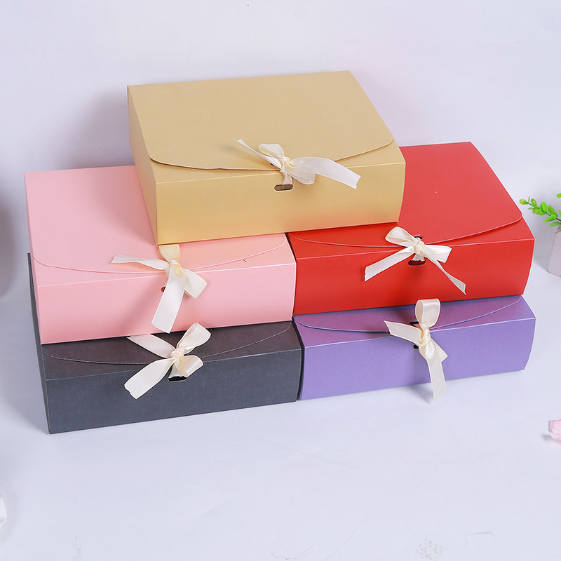 100pcs 24 5x20x7cm Large Gift Box Cosmetic Bottle Scarf clothing Packaging Color Paper Box with ribbon