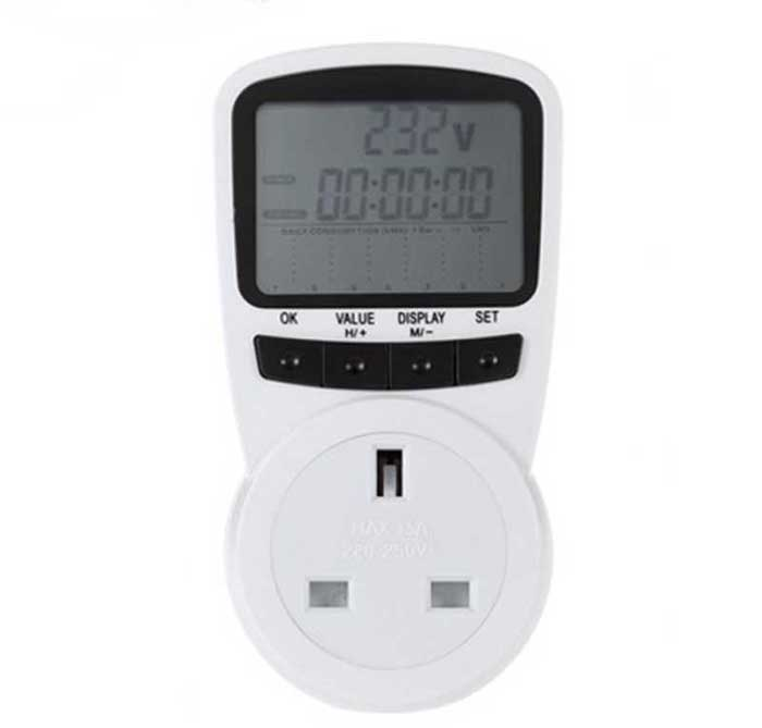 New UK Plug Socket Energy Meter Electricity Watt Voltage Amps Usage Frequency Monitor Analyzer Power Manage