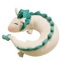 28x10 cm Yaratıcı Çin Beyaz Ejderha Peluş Oyuncaklar Sevimli Hayvan Seyahat araba Boyun Yastık U Şekli Peluş Dolması Yastık Çocuklar Hediye Doll