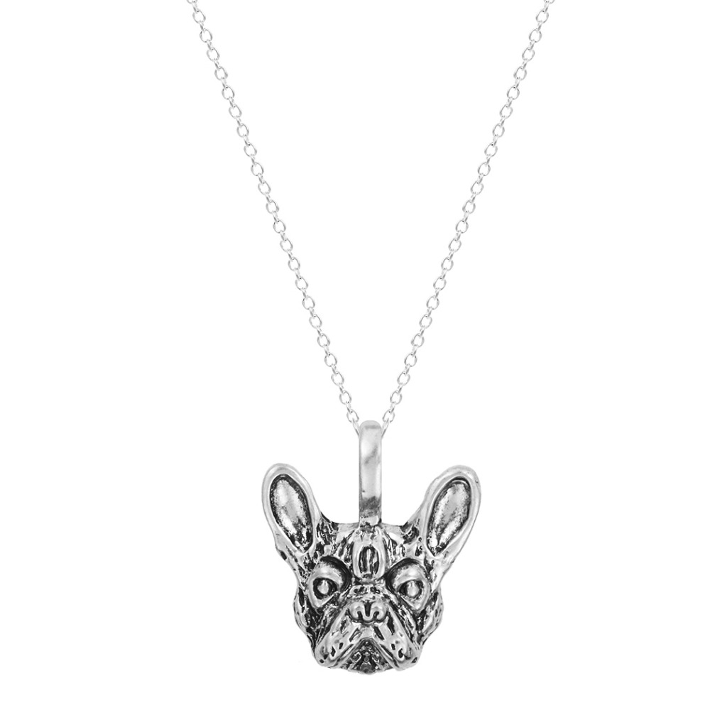 QIAMNI 30pcs Wholesale Handmade French Bulldog Face Dog Puppy Pet Lovers Animal Unique Necklaces & Pendants Gift for Women Girls