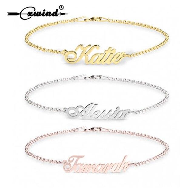 3c622c11f Cxwind Custom Bracelet Personalized Stainless Steel Name Bracelet Bangle  Customized Handwriting Nameplate Bracelets for Her Gift