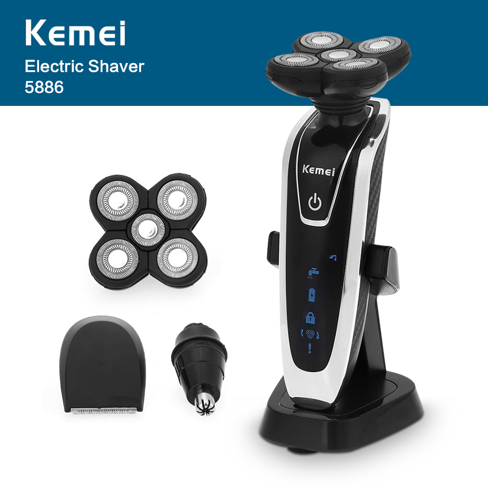 Kemei 5886 New 3 in 1 Washable Rechargeable Electric Shaver 5D Floating Heads Triple Blade Razor with Nose Trimmer Men Face Care