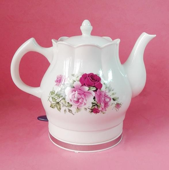 Free shipping High quality electric ceramic kettle, tea pot, water kettle, Red Rose, 1200W, 220V, 1.5L phnom penh wild rose tea premium beauty and herbal tea free shipping 60g genuine deauty menstruation
