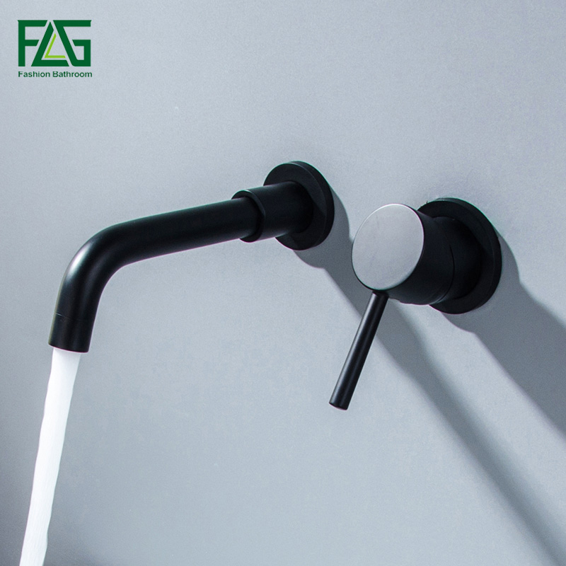 FLG Concealed Black Bathroom Faucet Single Handle Basin Faucet Wall Mounted Hot Cold Water Solid Brass