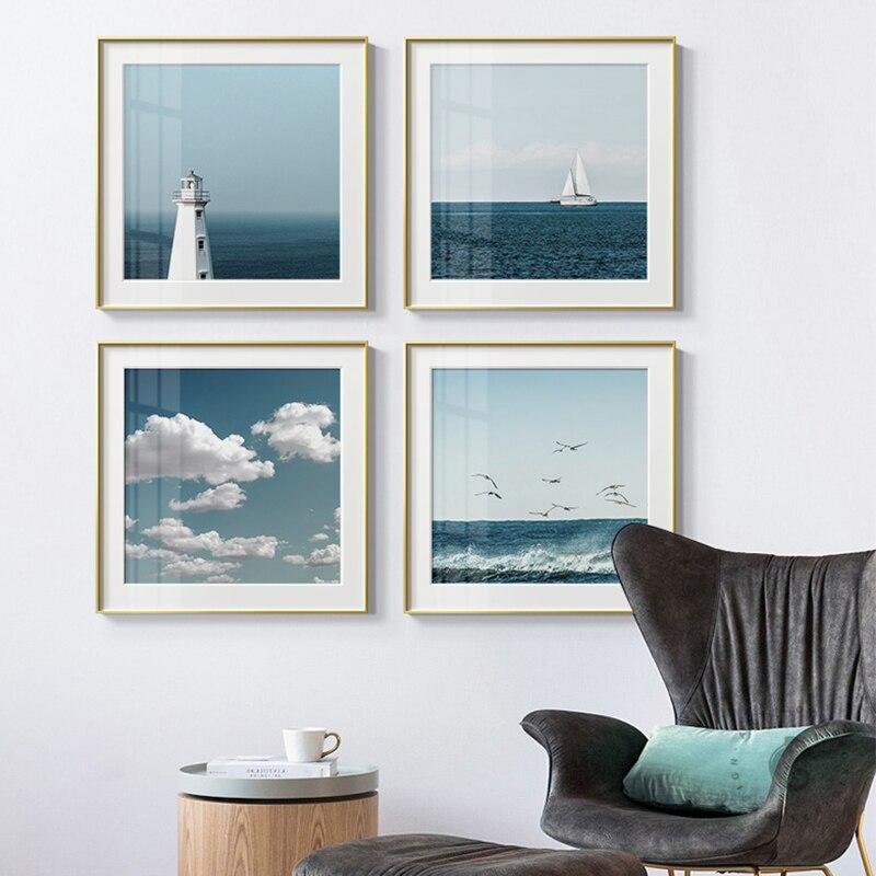 Nórdico seascape céu azul nuvem mar paisagem pintura da lona cartaz impressão hd moderno parede arte fotos para sala de estar decoração casa