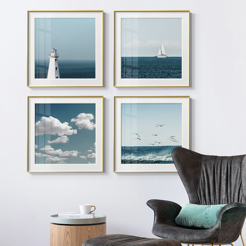 Nordic Seascape Blue Sky Sea Landscape Clouds Canvas Painting Poster Print HD Modern Wall Art Pictures For Living Room Home Deco