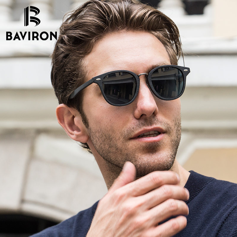 BAVIRON New Similar Wood Acetate Sunglasses Unisex Retro Mirror Sun Glasses Hand Make Polarized Sunglasses Popular
