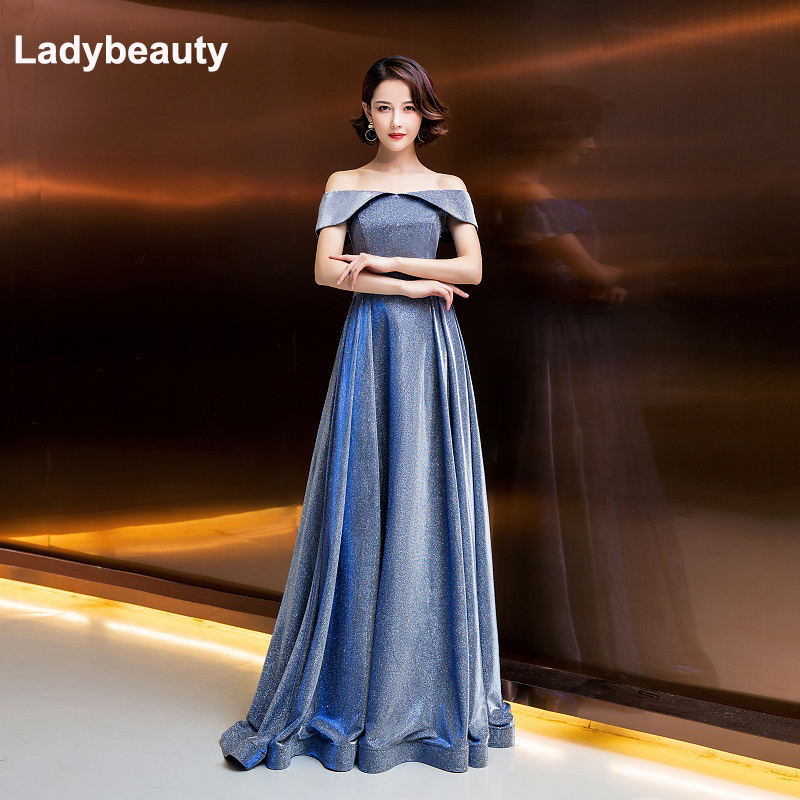 Ladybeauty 2019 Evening Dresses bling Elegant Boat Neck Robe Longue Prom Gown Sexy Formal Dress Vestido