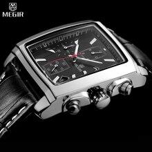 Megir reloj deportivo militar para hombre, cronógrafo de pulsera, de cuero, de cuarzo, Masculino