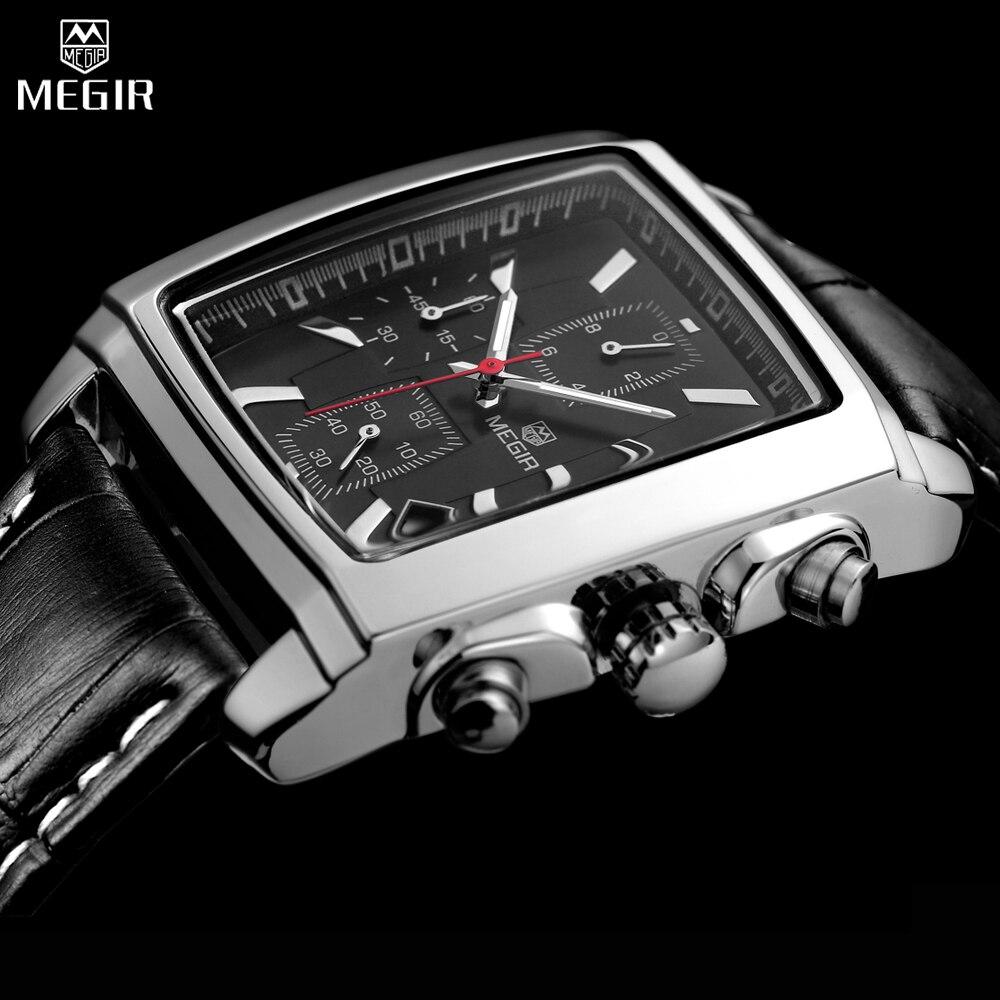 Prix pour Relogio masculino megir top marque de luxe mens montres hommes militaire sport horloge chronographe montre-bracelet en cuir montre à quartz