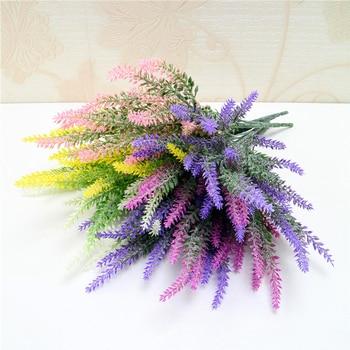 Flor Artificial de lavanda romántica decoración provenzal flor falsa de plástico para la decoración del jardín del hogar de la fiesta de la boda