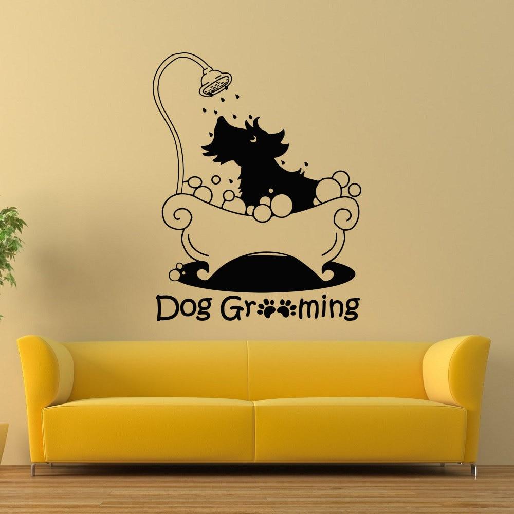 Cute Dog Silhouette Grooming Pattern Art Wall Stickers Home Nursery ...