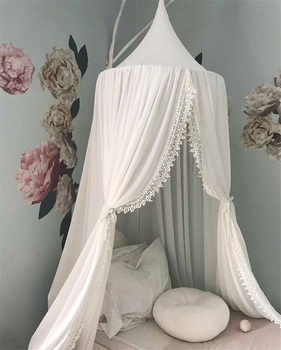 High Quality Princess Lace Mosquito Net Round Dome Bed Canopy Cotton Linen Mosquito Curtain Kids Girl Room Comfort Decoration - DISCOUNT ITEM  0% OFF All Category