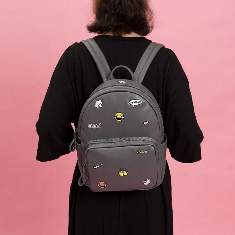 Kiitos Life PU leather grey embroidery backpacks in ICON series(FUN KIK store)