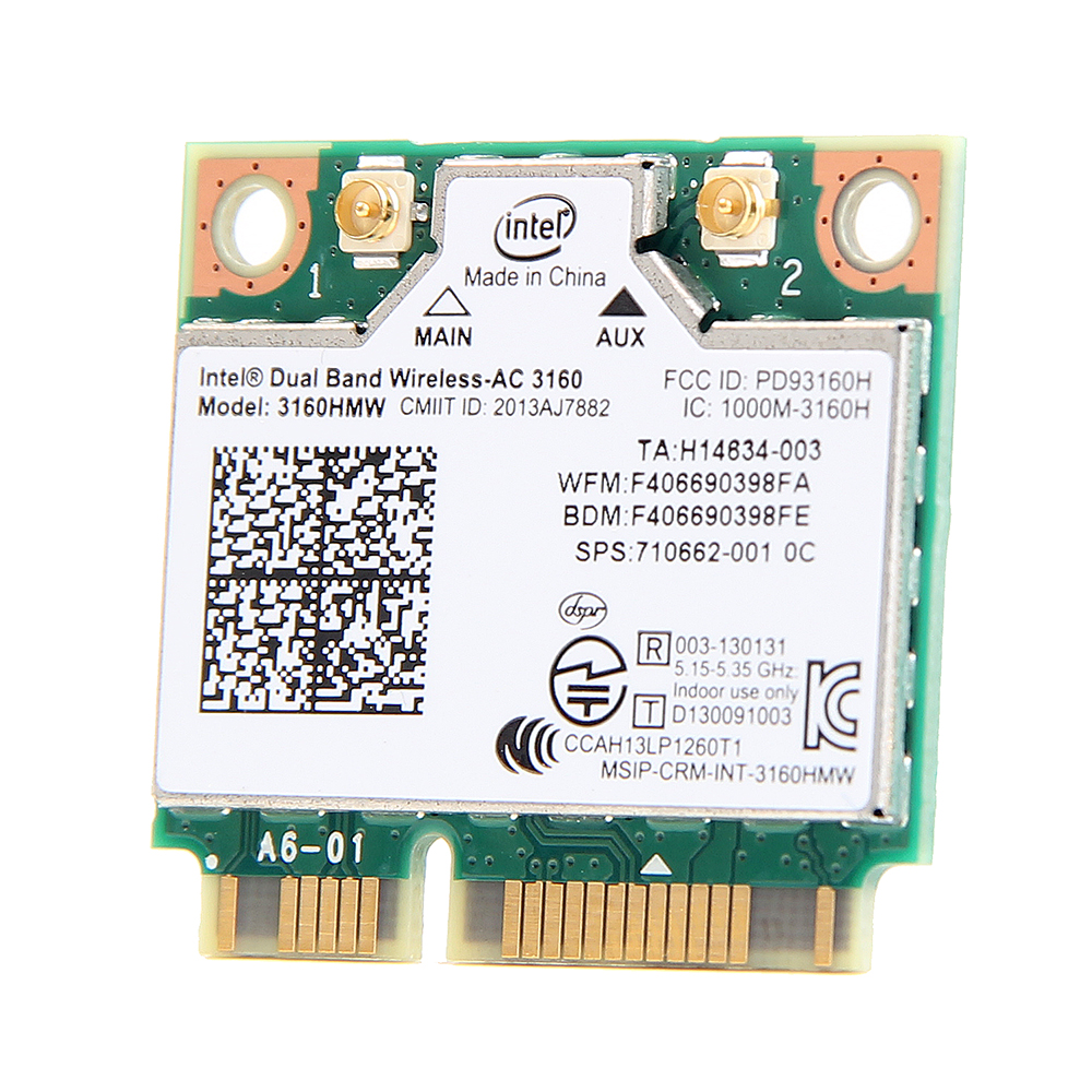 Mini PCI-e Wifi drahtlose Bluetooth-Laptop-Karte Dual Band 2,4 GHz 5 GHz für Intel 3160 3160HMW 802.11ac Wireless AC + Bluetooth 4.0