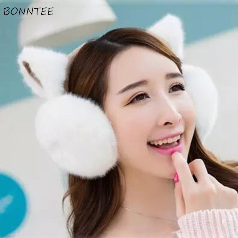 Earmuffs Women Cat Ears Harajuku Plush Soft Winter Warm Thicker Womens Earmuff High Quality Korean Style Kawaii All-match Casual