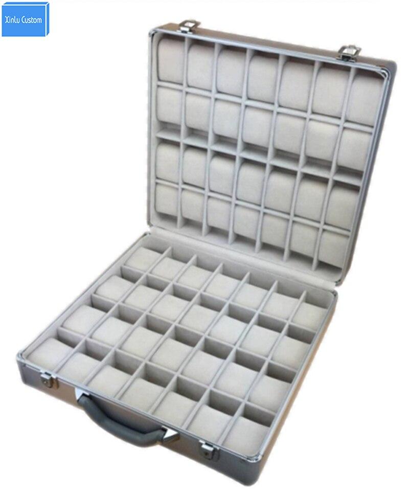 Aluminium de luxe Montre et Bijoux Valise De Rangement avec Poignée pour 56 pièces Montres Organisateur Affichage, Montre Boîte De Voyage Bagages