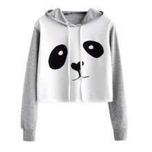 Women Sweatshirt Panda Animal Print Long Sleeve Hooded Crop Top Rough Pullovers Woman Fleeces Jumper Sweatshirts harajuku(China)