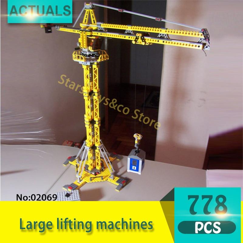 Technic Series 02069 1016Pcs Large lifting machines Model Building Blocks Set Bricks toys For Children Gift 7905 9656 early simple machines set