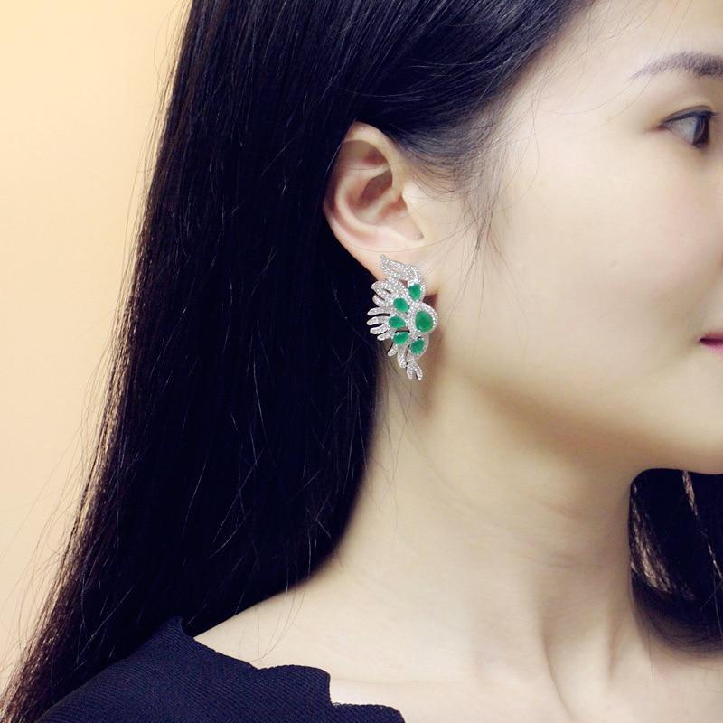 Coutumes ethniques en bohême Zircon blanc 925 boucles d'oreilles en argent Sterling pour les femmes M02-E0160 - 6