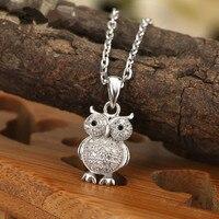 Fashion AAA Zircon Owl 925 Sterling Silver Beautiful OL Delicate Cute Pendant Necklace Women Collier Choker